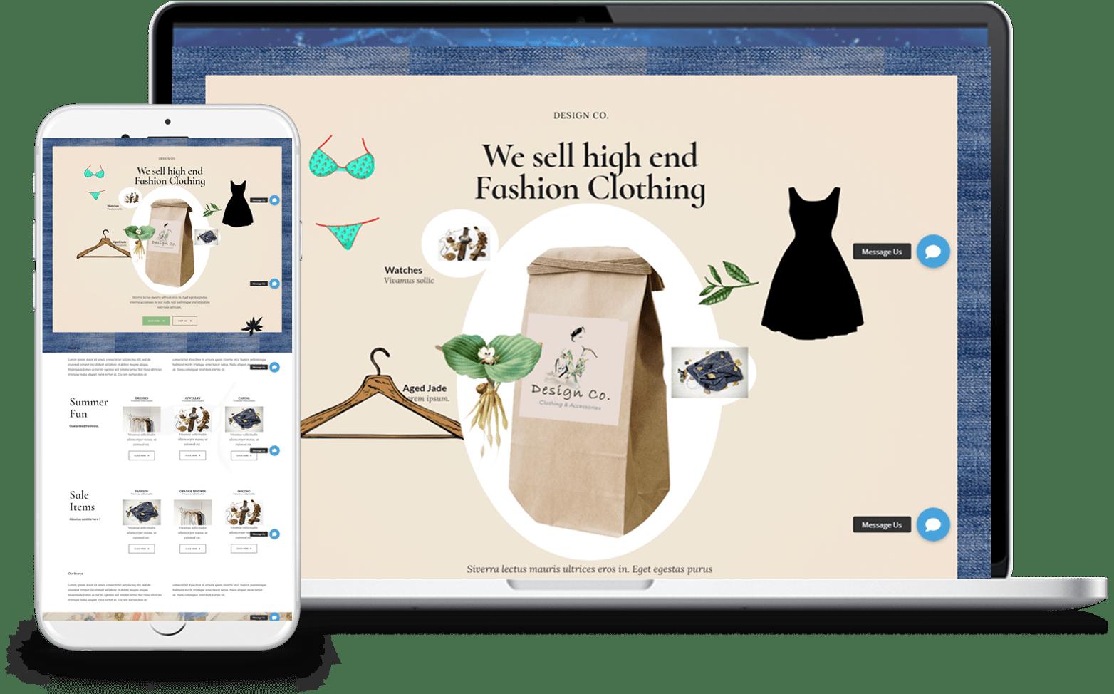 Designer clothing online store website design